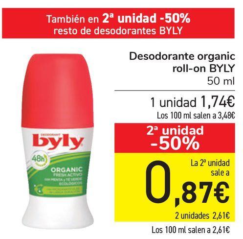 Oferta de Desodorante Organic roll-on BYLY  por 1,74€