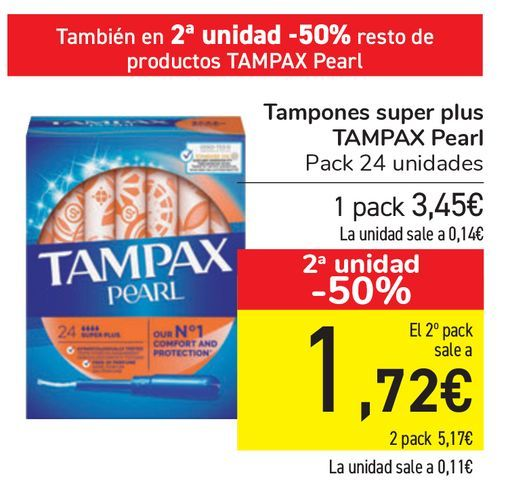 Oferta de Tampones super plus TAMPAX Pearl  por 3,45€