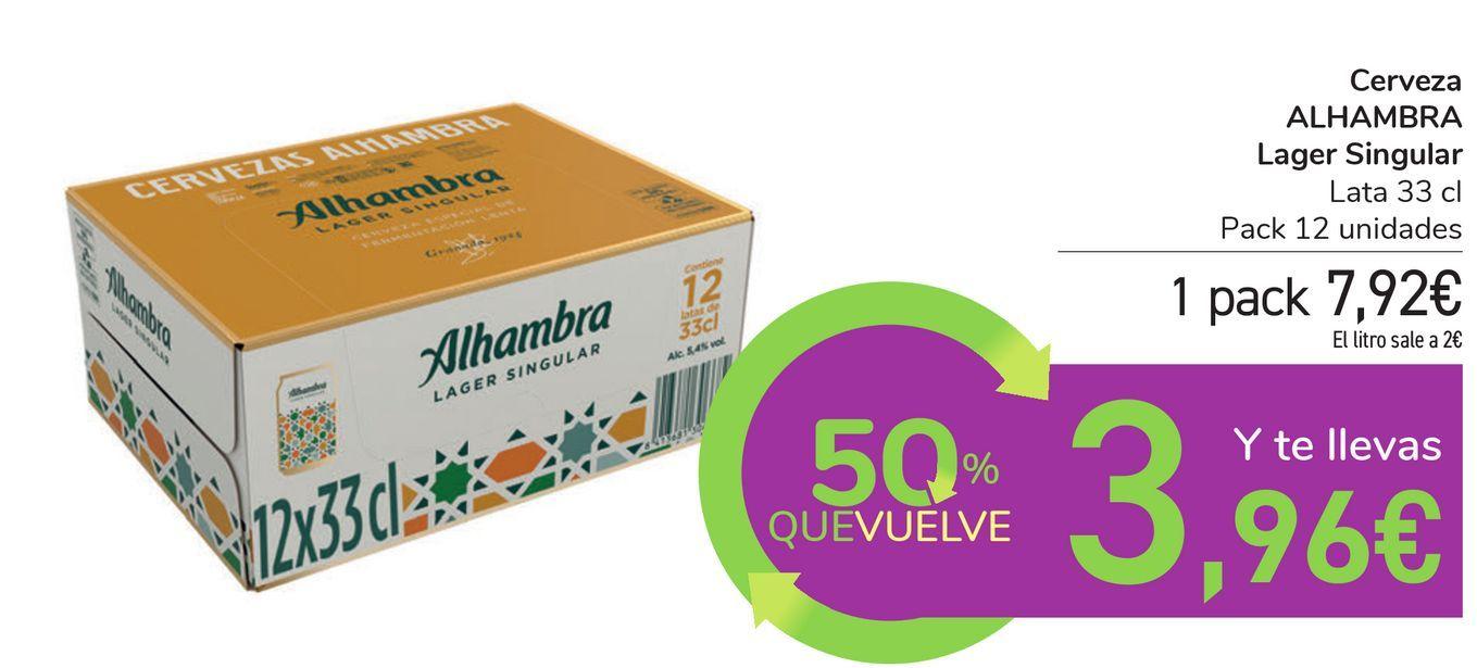 Oferta de Cerveza ALHAMBRA Lager Singular por 7,92€