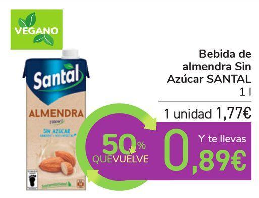 Oferta de Bebida de almendra Sin Azúcar SANTAL por 1,77€