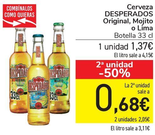 Oferta de Cerveza DESPERADOS Original, Mojito o Lima  por 1,37€