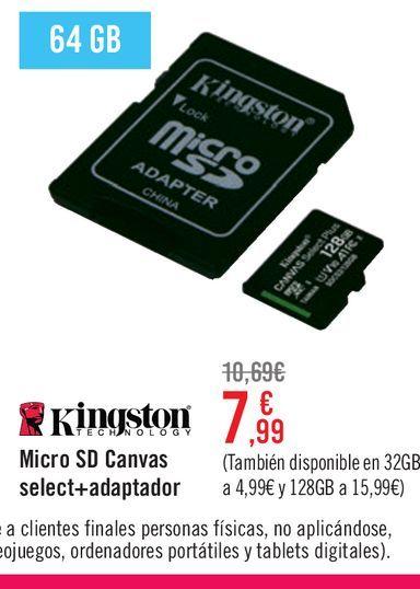 Oferta de Micro SD Kingston Canvas Select + adaptador por 7,99€