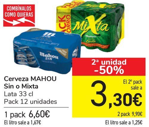 Oferta de Cerveza MAHOU Sin o Mixta  por 6,6€