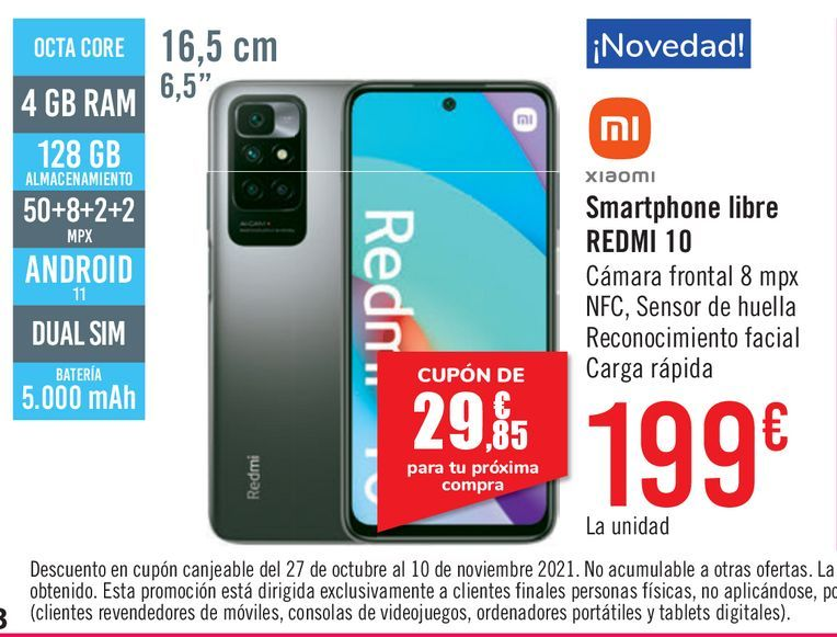Oferta de Smartphone libre Xiaomi Redmi 10 por 199€