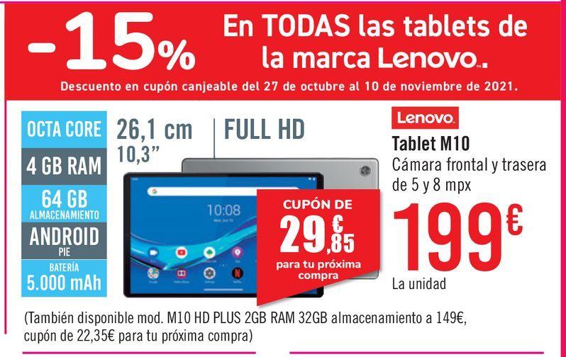 Oferta de Tablet Lenovo M10  por 199€