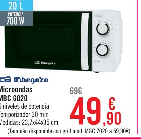 Oferta de Microondas MBC 6020 por 49,9€