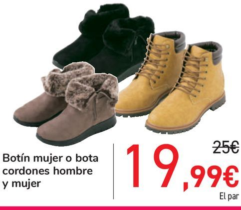 Oferta de Botín mujer o bota cordones hombre y mujer por 19,99€