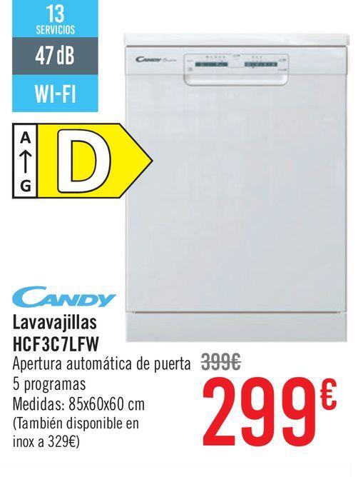 Oferta de Lavavajillas Candy D HCF3C7LFW  por 299€