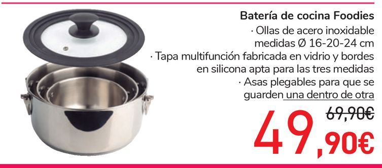 Oferta de Batería de cocina Foodies por 49,9€
