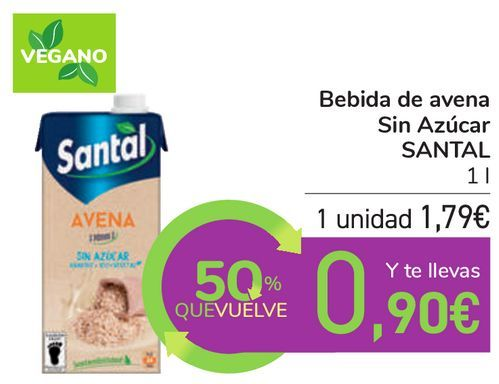 Oferta de Bebida de avena Sin Azúcar SANTAL por 1,79€