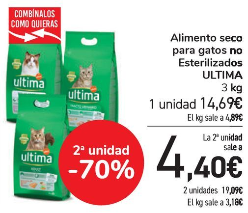 Oferta de Alimento seco para gatos no Esterilizados ULTIMA  por 14,69€