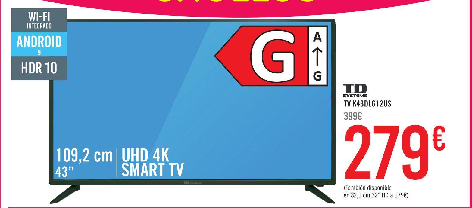 "Oferta de TV LED 109,22 cm (43"") TD Systems K43DLG12US, 4K UHD, Smart TV por 279€"