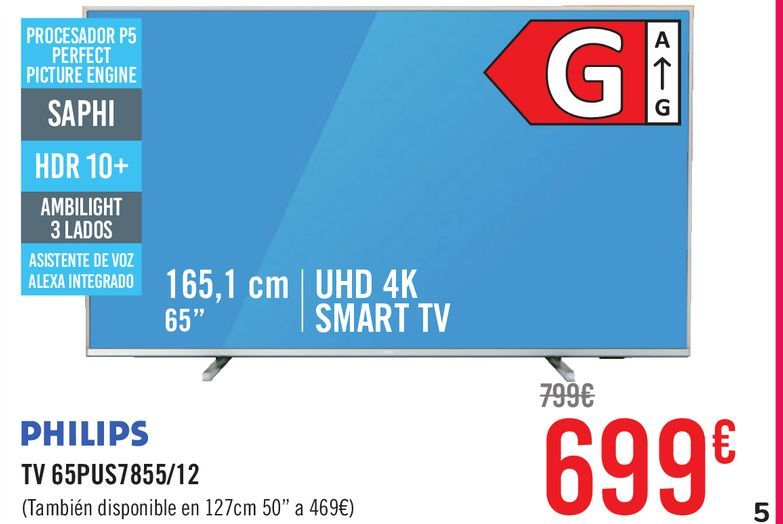 Oferta de PHILIPS TV 65PUS7855/12 por 699€