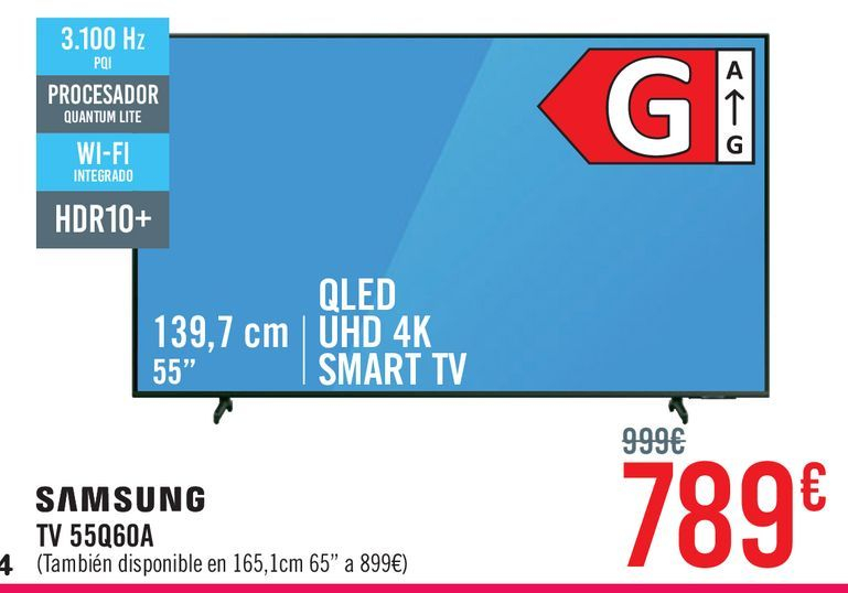 Oferta de Samsung TV 55Q60A por 789€