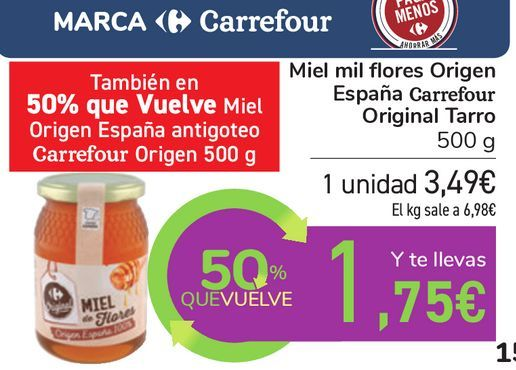 Oferta de Miel mil flores Origen España Carrefour Original Tarro por 3,49€