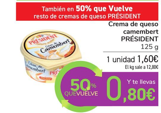 Oferta de Crema de queso camembert PRÉSIDENT  por 1,6€