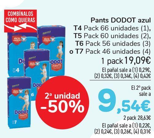 Oferta de Pants DODOT Azul T4, T5, T6 o T7  por 19,9€