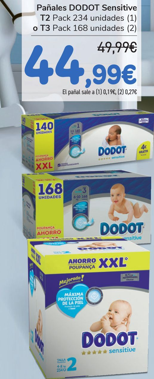 Oferta de Pañales DODOT Sensitve T2 o T3  por 44,99€