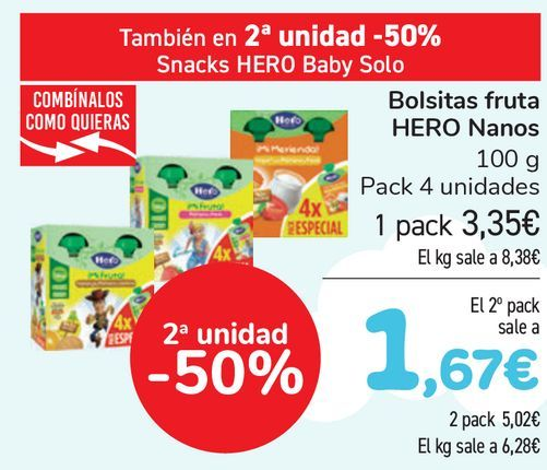 Oferta de Bolsitas fruta HERO Nanos  por 3,35€