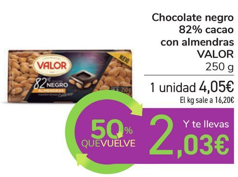 Oferta de Chocolate negro 82% cacao con almendras VALOR por 4,05€