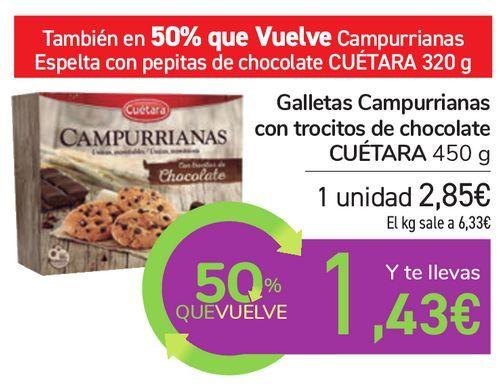 Oferta de Galletas Campurrianas con trocitos de chocolate CUÉTARA por 2,85€