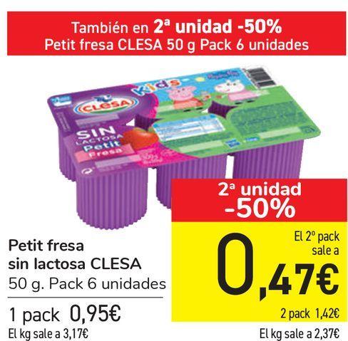 Oferta de Petit fresa sin lactosa CLESA  por 0,95€