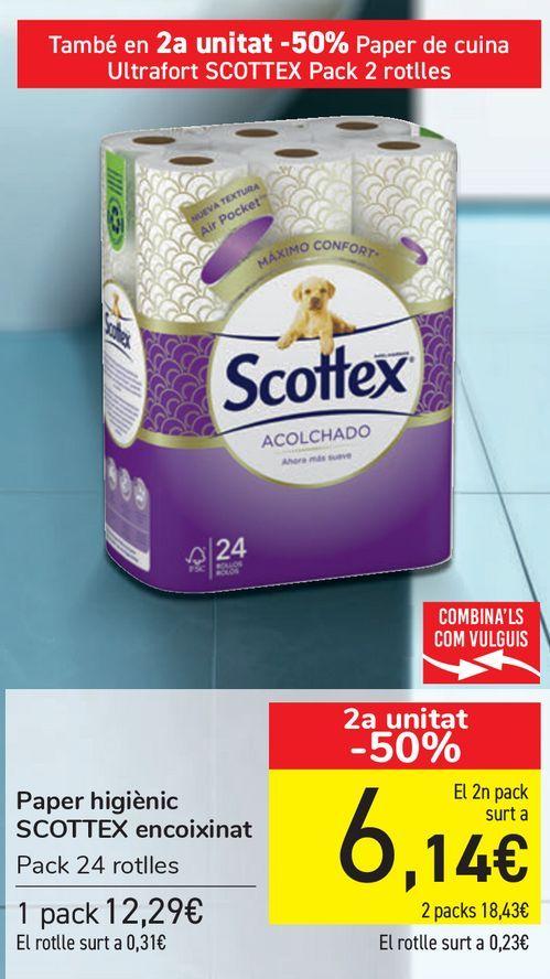 Oferta de Papel higiénico SCOTTEX Acolchado  por 12,29€