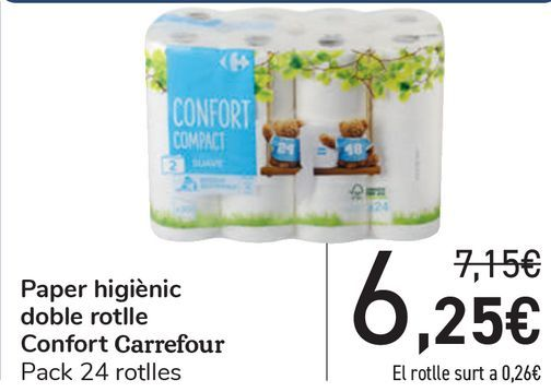 Oferta de Papel higiénico doble rollo Confort Carrefour  por 6,25€