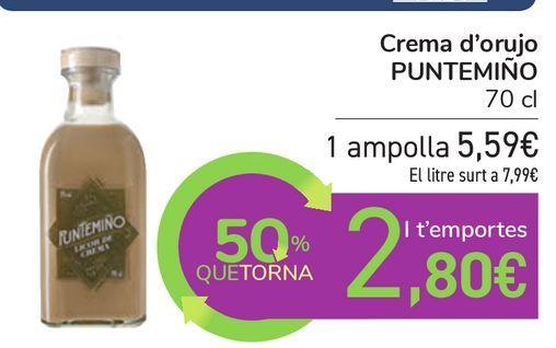 Oferta de Crema de orujo PUNTEMIÑO por 5,59€