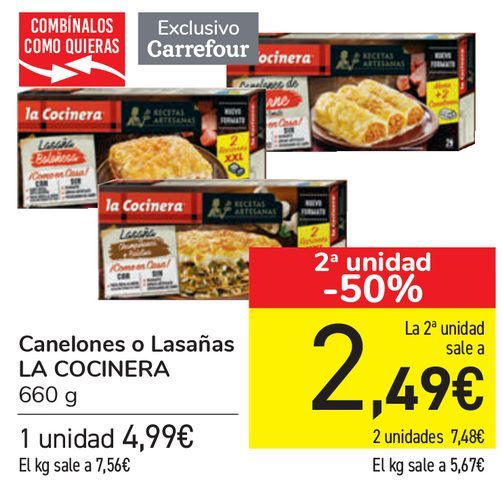 Oferta de Canelones o Lasaña LA COCNERA  por 4,99€