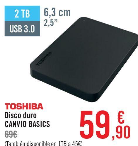 Oferta de TOSHIBA Disco duro CANVIO BASIC por 59,9€