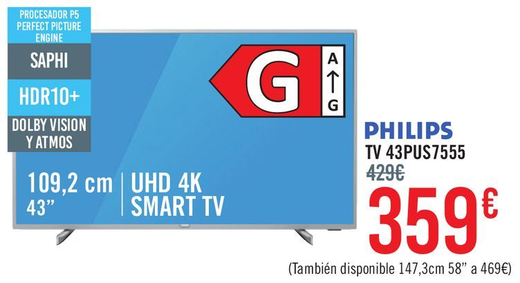Oferta de PHILIPS TV 43PUS7555 por 359€