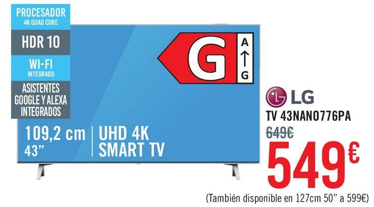 Oferta de LG TV 43NANO776PA por 549€