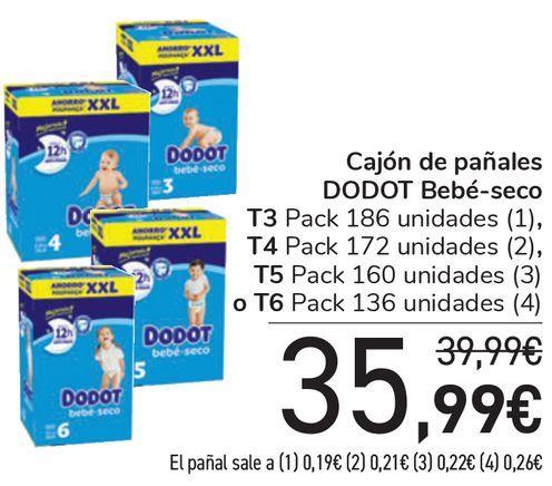 Oferta de Cajón de pañales DODOT Bebé-seco T3, T4, T5 o T6  por 35,99€