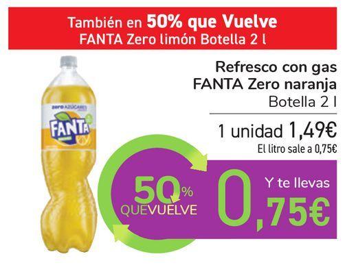 Oferta de Refresco con gas FANTA Zero naranja por 1,49€