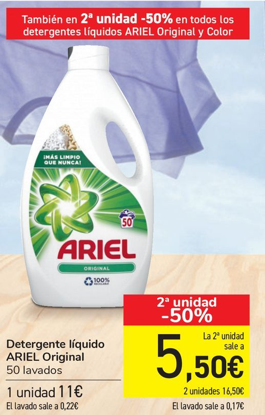 Oferta de Detergente líquido ARIEL Original  por 11€