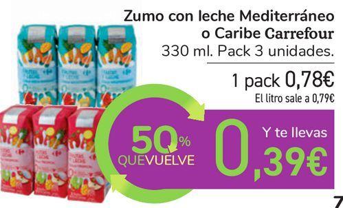 Oferta de Zumo con leche Mediterráneo o Caribe Carrefour por 0,78€