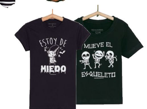 Oferta de Camiseta Halloween Hombre, infantil y bebé Mod. Mueve el esqueleto Mujer Mod. Estoy de miedo por 3,49€