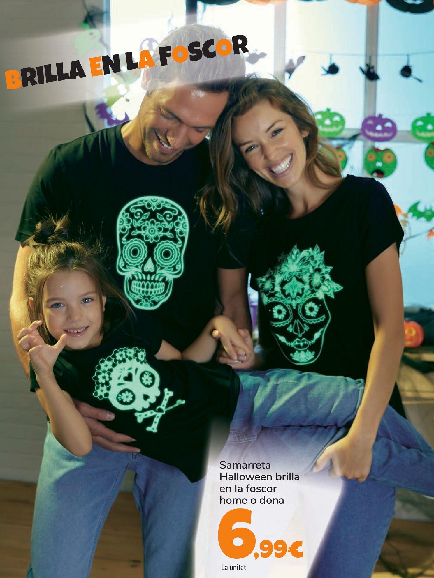 Oferta de Camiseta Halloween brilla en la oscuridad hombre o mujer por 6,99€