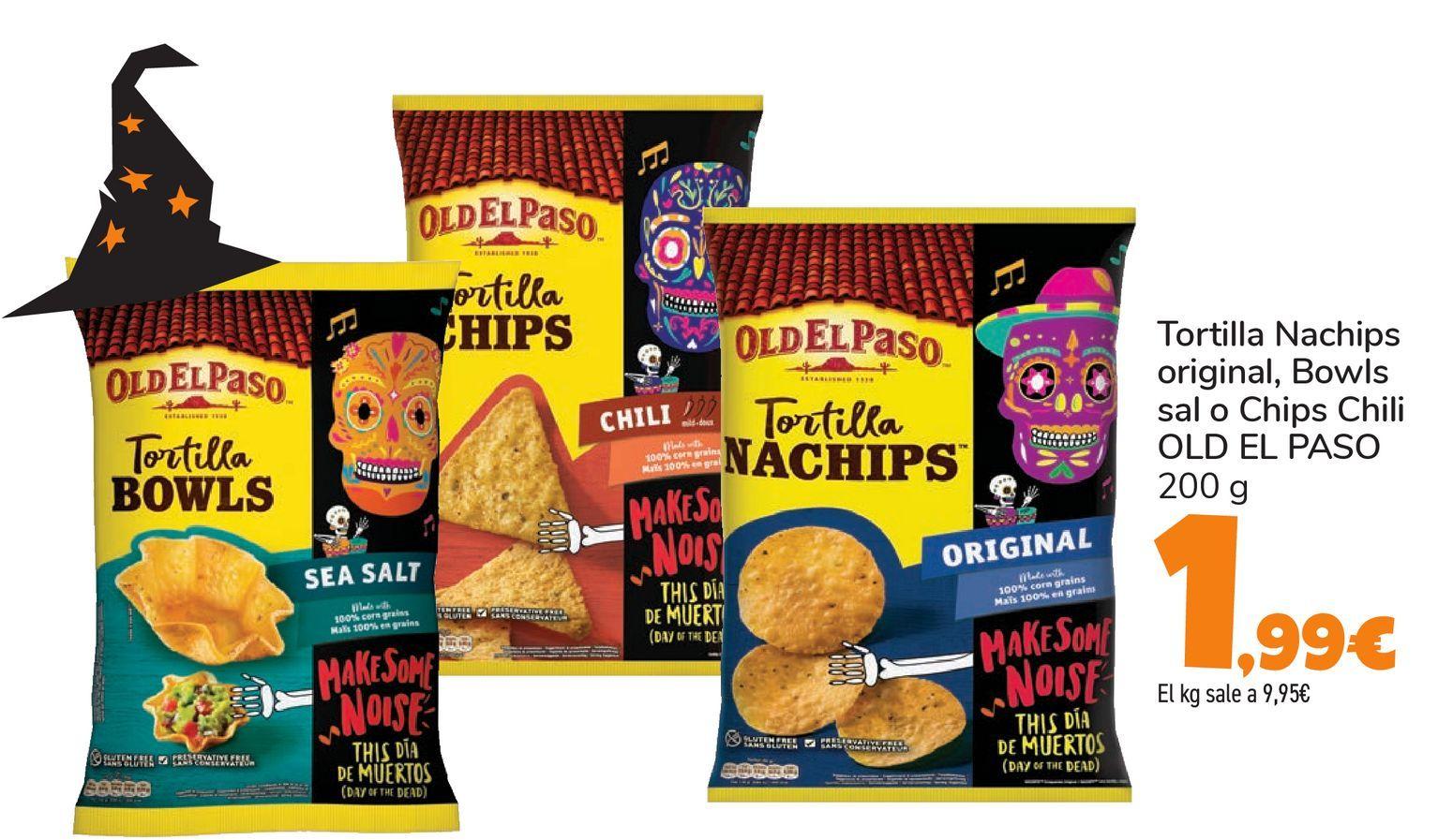 Oferta de Tortilla Nachips original, Bowls sal o Chips Chili OLD EL PASO por 1,99€
