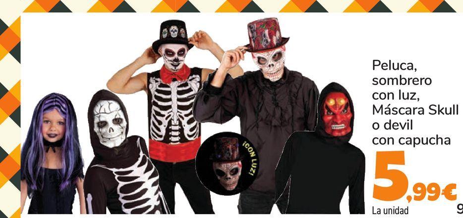 Oferta de Peluca, sombrero con luz, Máscara Skull o devil con capucha por 5,99€