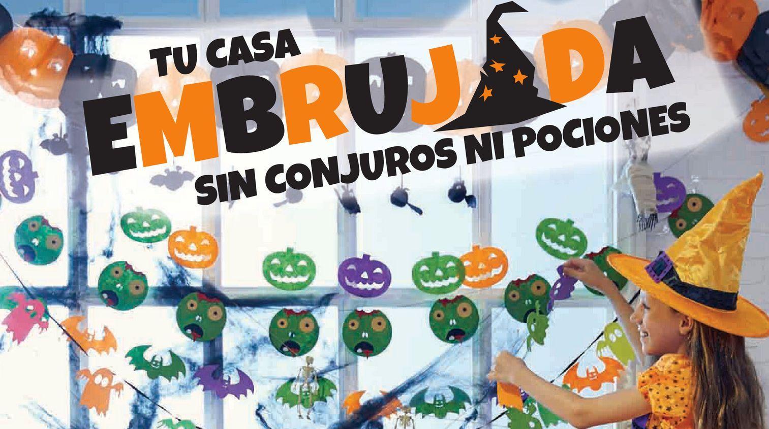 Oferta de Guirnaldas, globos, mini faroles, esqueletos, máscaras, telaraña, colgantes, calabazas luminosas, etc por 1,99€