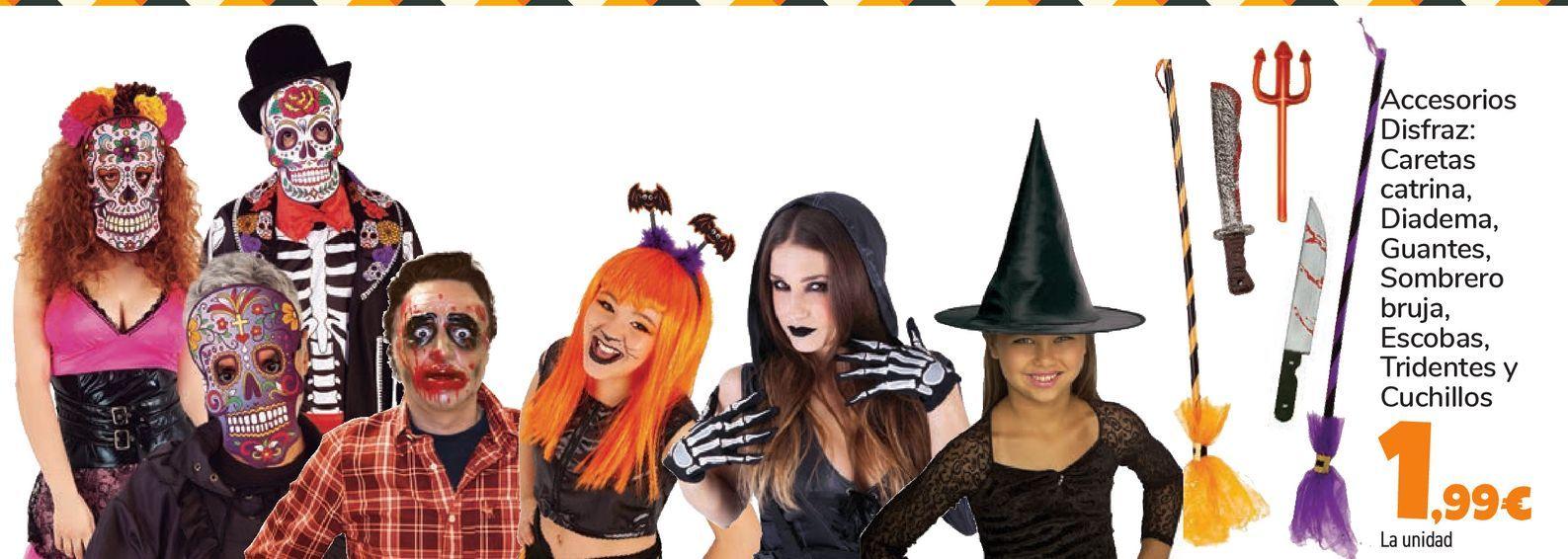 Oferta de Peluca, sombrero con luz, Máscara Skull o devil con capucha por 1,99€