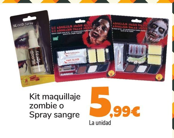 Oferta de Kit maquillaje zombie o Spray sangre por 5,99€