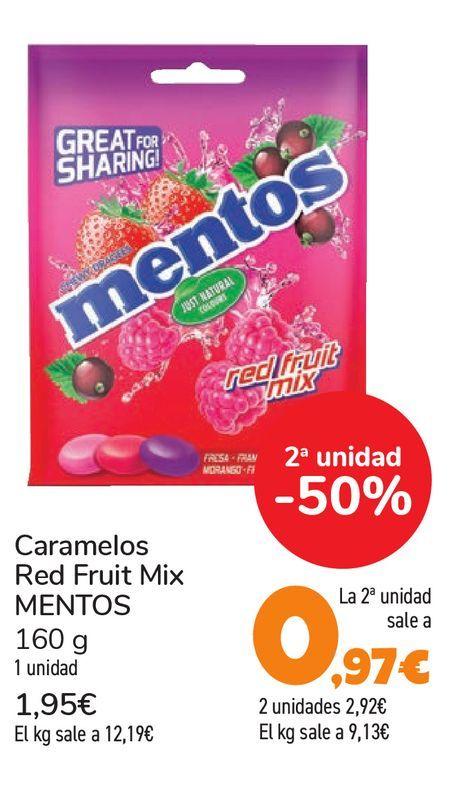 Oferta de Caramelos Red Fruit Mix MENTOS 160 g por 1,95€
