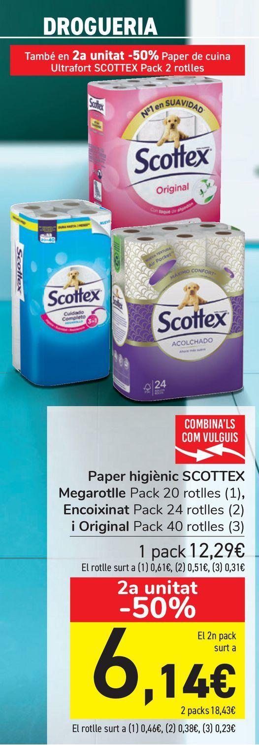 Oferta de Papel higiénico SCOTTEX Megarrollo, Acolchado y Original  por 12,29€