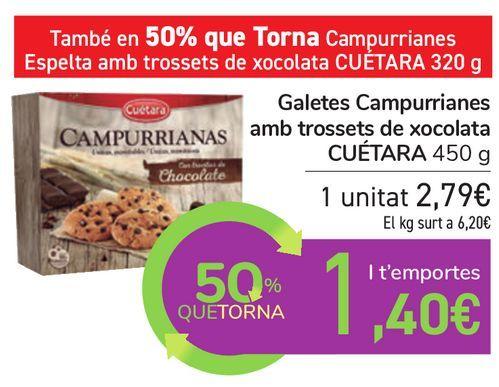Oferta de Galletas Campurrianas con trocitos de chocolate CUÉTARA por 2,79€