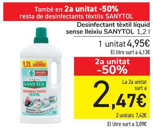 Oferta de Desinfectante textil líquido sin lejía SANYTOL  por 4,95€