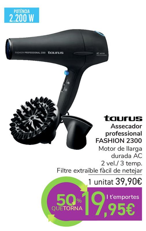 Oferta de Taurus Secador profesional FASHION 2300 por 39,9€