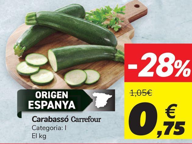 Oferta de Calabacín Carrefour  por 0,75€